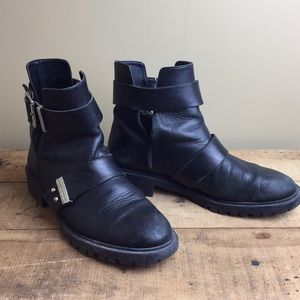 Zara leather motorcycle leather boots black 10